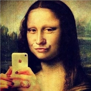A parody of the duck face selfies on Facebook.